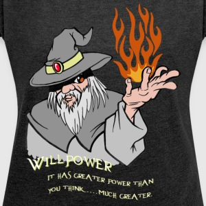 Willpower Wizard Grey / Orange Flame - Women's T-shirt with rolled up sleeves