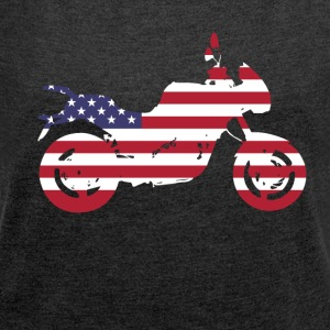 bike-usa motorcycle flag proud America travel vacation - Women's T-shirt with rolled up sleeves