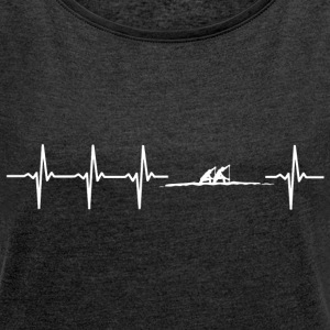 I love rowing (rowing heartbeat) - Women's T-shirt with rolled up sleeves