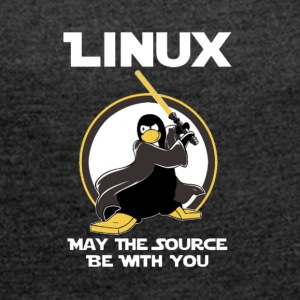 may_the_linux_source - Vrouwen T-shirt met opgerolde mouwen