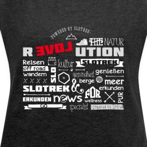 slotrek traveling label slovenia nature trecking off r - Women's T-shirt with rolled up sleeves