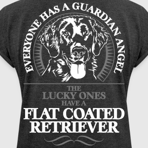 GUARDIAN ANGEL flat coated retriever - T-skjorte med rulleermer for kvinner