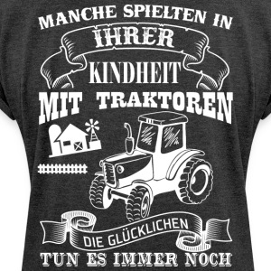 farmer tractor - Women's T-shirt with rolled up sleeves