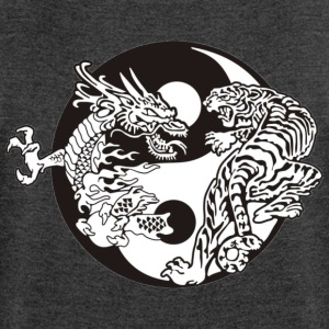 Ying Yang Tiger Dragon - Women's T-shirt with rolled up sleeves