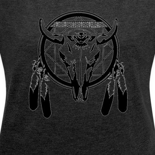 bull skull - Frauen T-Shirt mit gerollten Ärmeln
