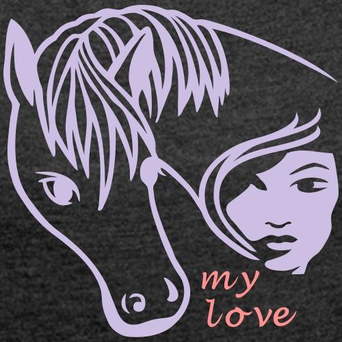 Pferde Liebe - Frauen T-Shirt mit gerollten Ärmeln