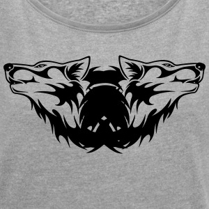Double-Wolf Logo - Women's T-shirt with rolled up sleeves