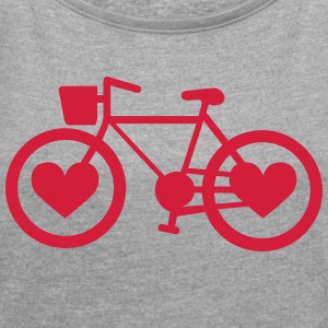 Bike Heart - Women's T-shirt with rolled up sleeves