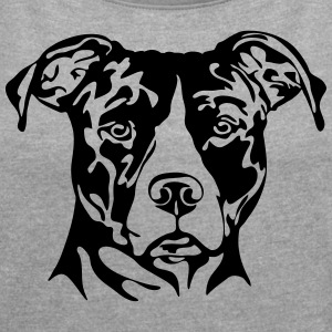 AMERICAN STAFFORDSHIRE PORTRAIT - Women's T-shirt with rolled up sleeves