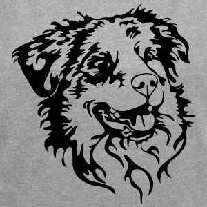 AUSTRALIAN SHEPHERD PORTRAIT - Women's T-shirt with rolled up sleeves