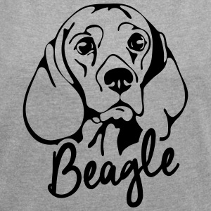 BEAGLE PORTRAIT - Women's T-shirt with rolled up sleeves
