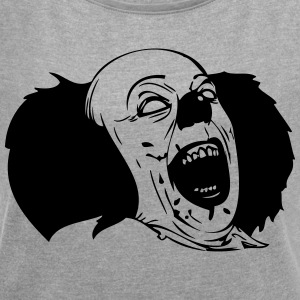 Evil Clown Black & White - Women's T-shirt with rolled up sleeves