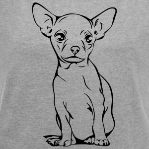 CHIHUAHUA PORTRAIT full body - Women's T-shirt with rolled up sleeves