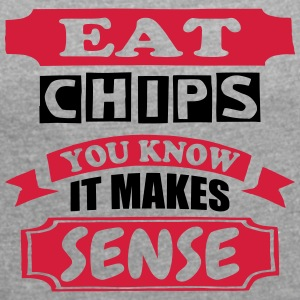 Eat Chips - Women's T-shirt with rolled up sleeves