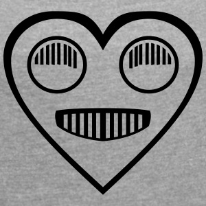 Automotive Love - Heart headlight eyes - Women's T-shirt with rolled up sleeves