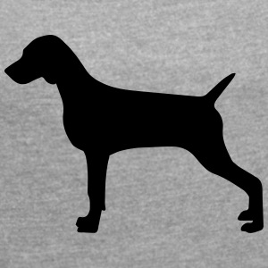 Weimaraner silhouette - Women's T-shirt with rolled up sleeves