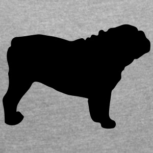 ENGLISH BULLDOG - ENGLISH BULLDOG Silhouette - Women's T-shirt with rolled up sleeves