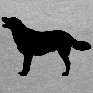 Vector dog Silhouette - Women's T-shirt with rolled up sleeves
