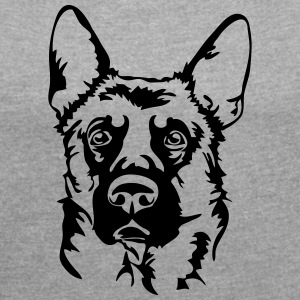 GERMAN SHEPHERD PORTRAIT - Women's T-shirt with rolled up sleeves