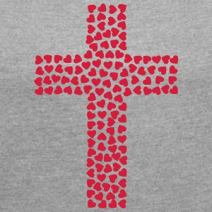 Cross from the heart - Women's T-shirt with rolled up sleeves