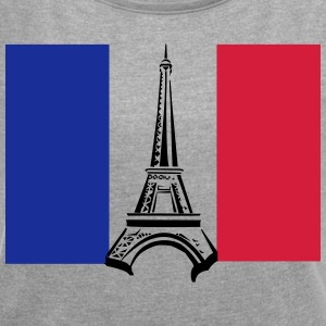 Eiffel Tower with Flag - Women's T-shirt with rolled up sleeves