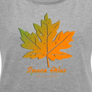 Space Atlas Long Sleeve T-Shirt Autumn Leaves - Women's T-shirt with rolled up sleeves