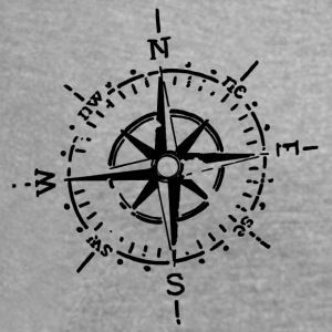 Compass, Retro - Women's T-shirt with rolled up sleeves