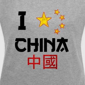 I Love China - Dame T-shirt med rulleærmer