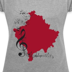 kosovo music - Women's T-shirt with rolled up sleeves