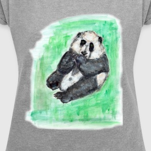 Scruffy panda - Women's T-shirt with rolled up sleeves