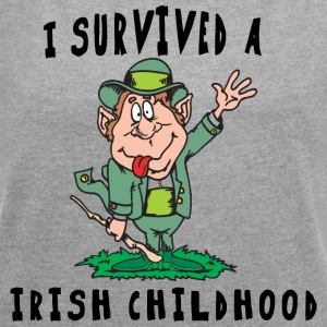 Irish I Survived A Irish Childhood - Women's T-shirt with rolled up sleeves