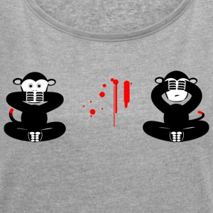 innocent monkey - Women's T-shirt with rolled up sleeves