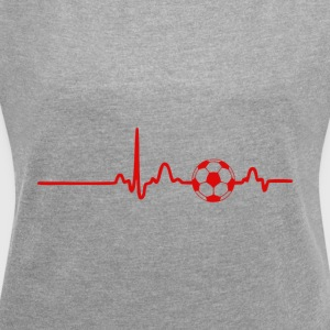 EKG Heart Line Football - Women's T-shirt with rolled up sleeves