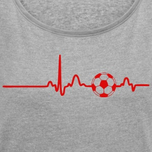 ECG HEART LINE FOOTBALL red - Women's T-shirt with rolled up sleeves