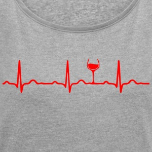ECG HEARTBEAT WINE red - Women's T-shirt with rolled up sleeves