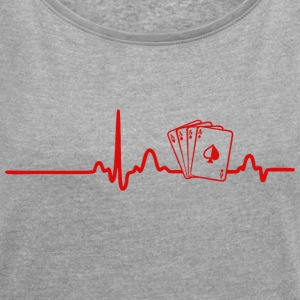 ECG HEARTLINK POKER red - Women's T-shirt with rolled up sleeves