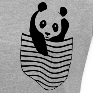 Panda in the pocket - Women's T-shirt with rolled up sleeves