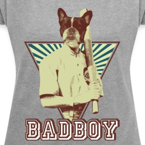 French bulldog bully Sports Baseball - Women's T-shirt with rolled up sleeves