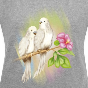 parakeets - Women's T-shirt with rolled up sleeves