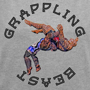 Grappling Beast (ape vs Jaguar) - T-skjorte med rulleermer for kvinner