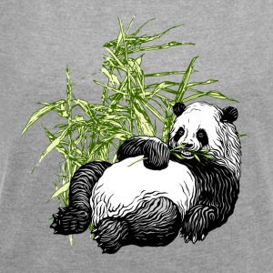 Panda_TS - Women's T-shirt with rolled up sleeves
