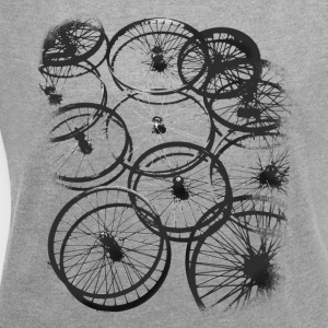 Bicycle tire spokes biker cool design style gr - Women's T-shirt with rolled up sleeves