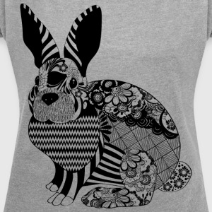 Floral Bunny - Women's T-shirt with rolled up sleeves