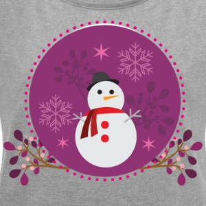 Snowman purple - Women's T-shirt with rolled up sleeves