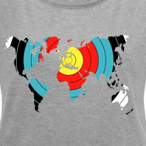 Archery World Map - Women's T-shirt with rolled up sleeves