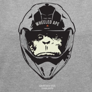The Two Wheeled Ape Big Head Biker T-shirt - Women's T-shirt with rolled up sleeves