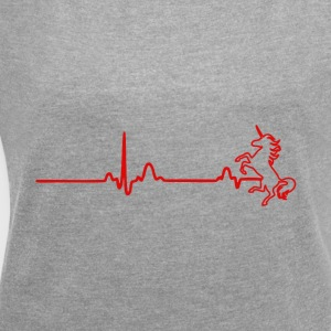 EKG Heart Line UNICORN - Women's T-shirt with rolled up sleeves
