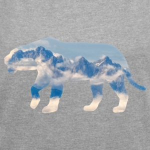 Mountain Lion - Women's T-shirt with rolled up sleeves