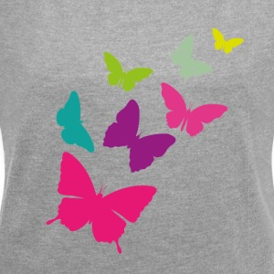 butterfly swarm - Women's T-shirt with rolled up sleeves
