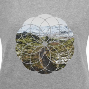 Geometric Shape - Landscape and Mountain - Women's T-shirt with rolled up sleeves